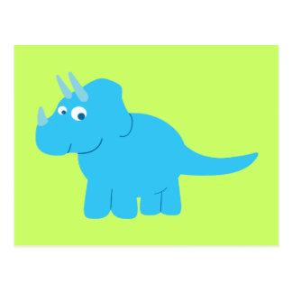 Blauer Triceratops-Dinosaurier Postkarte
