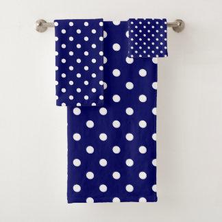 Blauer Tupfen Badhandtuch Set