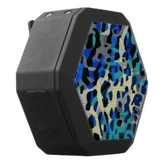 Blauer Türkis-SchwarzesCheetah abstrakt Schwarze Bluetooth Lautsprecher