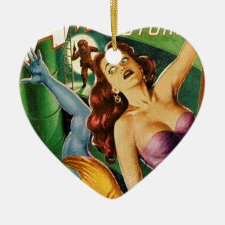 Blauer Typ fällt weg von der Leiter Keramik Herz-Ornament