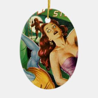 Blauer Typ fällt weg von der Leiter Keramik Ornament