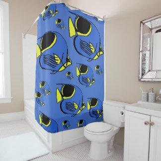 Blauer u. gelber Sunfish Duschvorhang