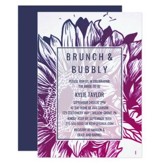 Blauer u. lila Ombre SonnenblumenBrunch und Karte