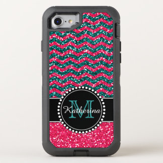 Blauer u. rosa Glitter-Zickzack personalisierter OtterBox Defender iPhone 8/7 Hülle