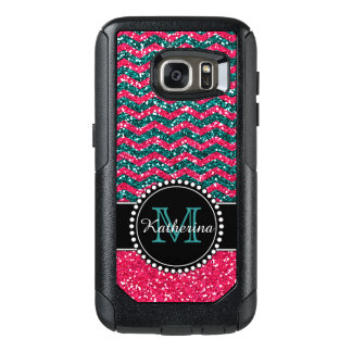 Blauer u. rosa Glitter-Zickzack personalisierter OtterBox Samsung Galaxy S7 Hülle