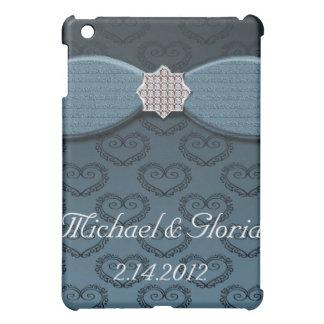 Blauer u. schwarzer Damast-Herz-Bogen Bling Hüllen Für iPad Mini