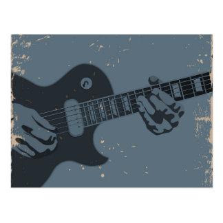 Blauer u. schwarzer rustikaler Gitarrist Postkarte
