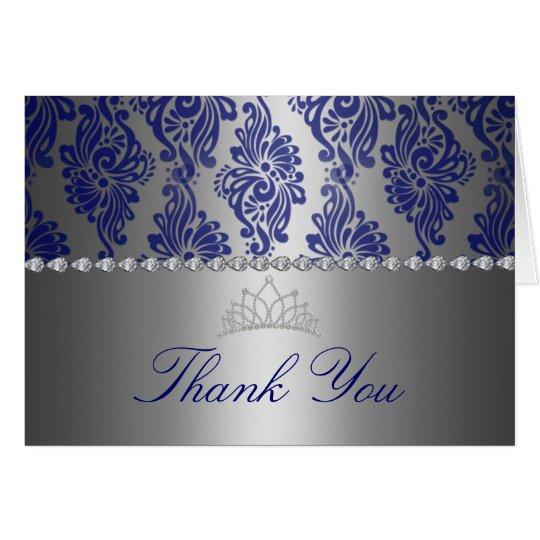 Blauer u. silberner Blumendruck danken Ihnen zu Mitteilungskarte