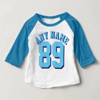 Blauer u. weißer Sport-Jersey-Entwurf des Baby-| Baby T-shirt