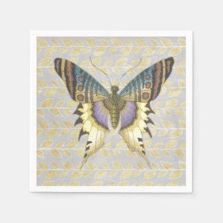 Blauer und gelber Vintager Art-Schmetterling Serviette