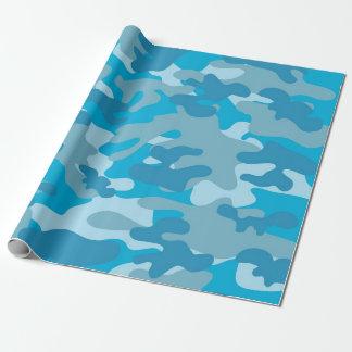 Blauer und grauer Camouflage-Entwurf Geschenkpapierrolle