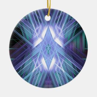 Blauer und grüner glühender Stern Keramik Ornament