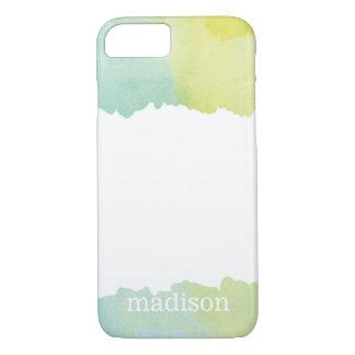 Blauer und grüner Pastellwatercolor mit Monogramm iPhone 8/7 Hülle