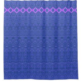 Blauer und lila Diamant-abstraktes Muster Duschvorhang