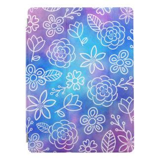 Blauer und lila Watercolor mit gekritzelten Blumen iPad Pro Cover