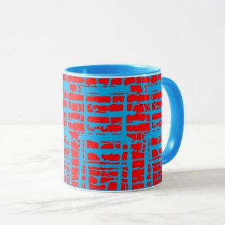 Blauer und roter Ziegelstein-Wand-Tasse Tasse