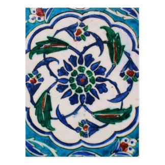 Blauer und weißer BlumenOsmaneära-Fliesenentwurf Postkarte