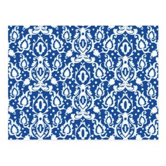 Blauer und weißer Damast Postkarte