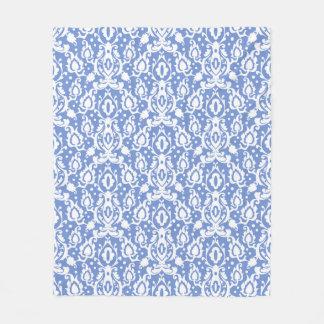 Blauer und weißer Marokkaner Casbah Damast Fleecedecke