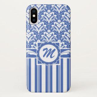 Blauer und weißer Retro Blumendamast mit Monogramm iPhone X Hülle