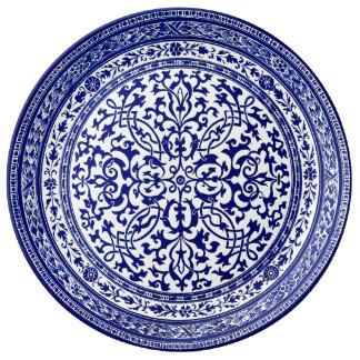 Blauer und weißer römischer Entwurf des 16. Porzellanteller