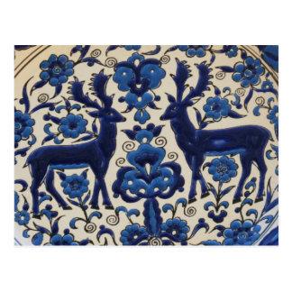 Blauer und weißer Rotwild-Hirsch-Vintage Fliese Postkarte