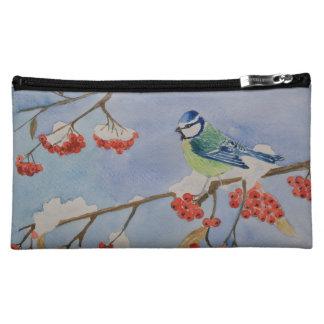 Blauer Vogel auf einem Eberesche-Baumast gegen Cosmetic Bag