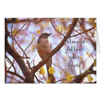 Blauer Vogel folgen Ihrem Herzen Karte