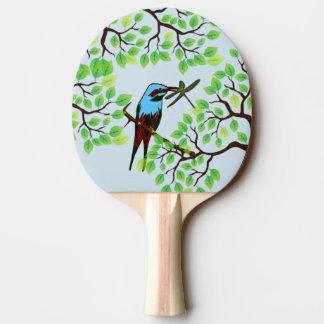 Blauer Vogel in den Bäumen blau Tischtennis Schläger