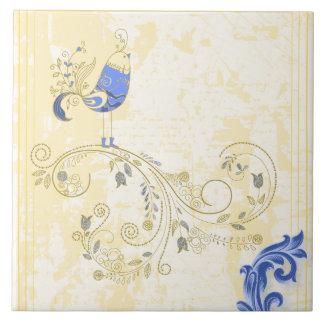 Blauer Vogel-Retro Blumenschöne Kunst Große Quadratische Fliese