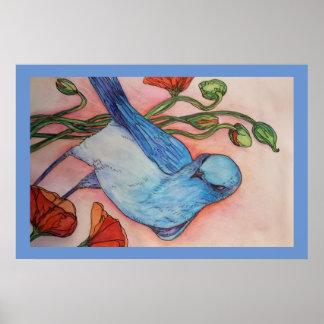 blauer Vogel und Mohnblumenplakat Poster