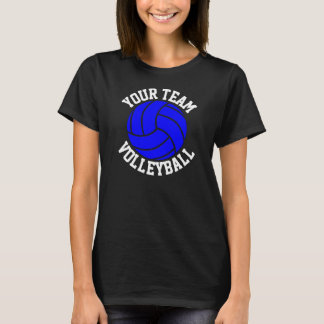 Blauer Volleyball-das schwarze T-Stück der T-Shirt