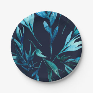 Blauer Watercolor-botanische Brautparty-Hochzeit Pappteller