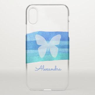 Blauer Watercolor-Schmetterling personalisiert iPhone X Hülle