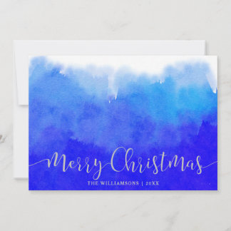 Blue Watercolor and Silver Merry Christmas Photo