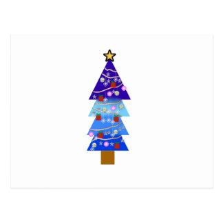 Blauer Weihnachtsbaum extravagant Postkarte