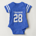 Blauer weißer Fußball Jersey trägt Baby-Spielanzug Baby Strampler