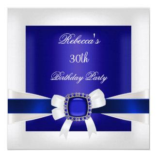 Blauer weißer Juwel-Bogen-30. Quadratische 13,3 Cm Einladungskarte