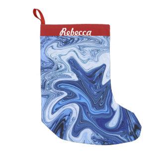 Blauer weißer Marmor des Strand Kleiner Weihnachtsstrumpf