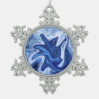 Blauer weißer Marmor des Strand Schneeflocken Zinn-Ornament