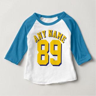 Blauer weißer u. goldener gelber Sport Jersey des Baby T-shirt