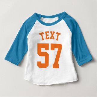 Blauer weißer u. orange Sport-Jersey-Entwurf des Baby T-shirt