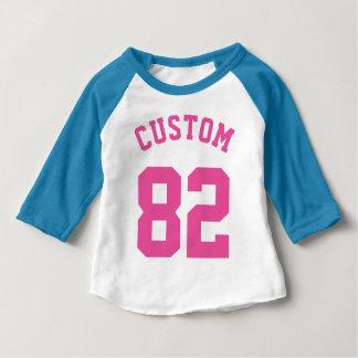 Blauer weißer u. rosa Sport-Jersey-Entwurf des Baby T-shirt