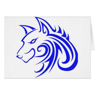 Blauer Wolf-Kopf Grußkarte