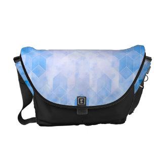 Blauer Würfel-geometrischer Entwurf Kurier Tasche