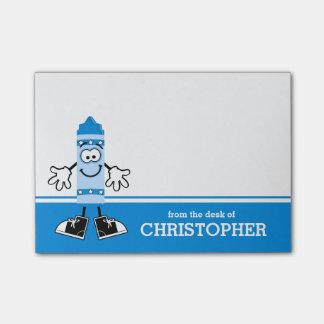 Blauer Zeichenstift personalisiert Post-it Klebezettel