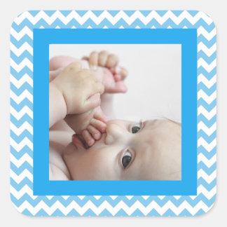 Blauer Zickzack gestreifter Baby-Foto-Aufkleber Quadratischer Aufkleber