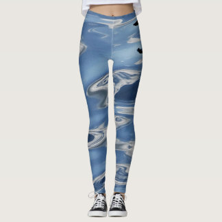 Blaues abstraktes Muster Leggings