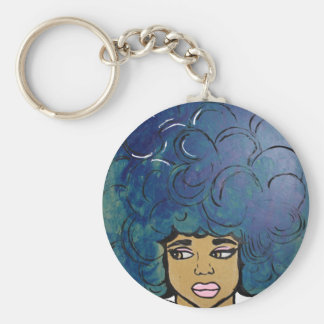 Blaues Afro-Ebenholz-Mädchen-großes Haar Schlüsselanhänger