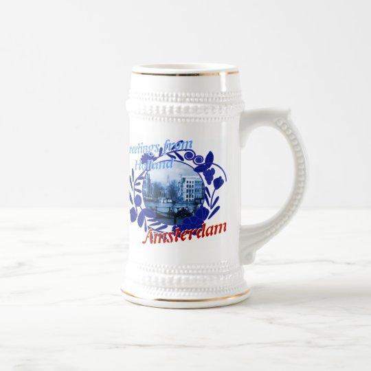 Blaues Amsterdam Holland Bier Stein Delfts Bierglas
